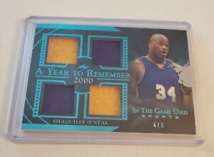 R69,057 - 2020 Leaf In The Game Used Quad Jersey Patch Shaquille O'Neal #4/6