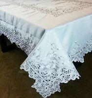 "54x72"" Embroidery Cutwork Embroidered Tablecloth Napkin White/Beige Elegantlinen"