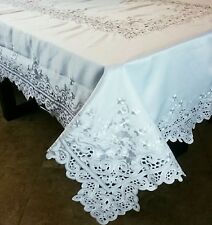 """Solid White Wedding 72x126"""" Embroidery Cutwork Embroidered Tablecloth 12 Napkins"""