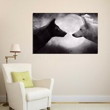 33x50cm Wolf Night Art Silk Poster Fabric Print Wild Nature Animals Wall Decor