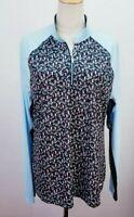 GREG NORMAN Zip Golf Polo Shirt, Womens Sz XL, Multi, Martini, Long Sleeves, NEW