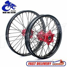 "For HONDA CR CRF 125 250 450 CRF250 CRF450 WHEEL RIM 21"" 19"" BLACK RIMS RED HUB"