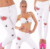HAUT TAILLE Pantalon Jeans coupe skinny denim blanc sickerei strass XS-XL