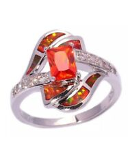 Stunning Quality Fashion Orange Fire Lab Opal & Crystal Silver Sz 9 Ring