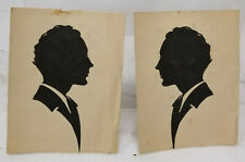 Antique Pair Victorian Cut Paper Silhouette Pictures Unframed Gentlemen