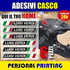 6 adesivi NOME COGNOME personalizzato CASCO MOTO bike BICI stickers Flag ITALIA