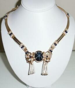 51ct Natural Blue 6 Stars Sapphire Necklace 14kt yellow gold, Swarovski Crystals