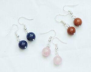 Gemstone Bead Drop Earrings - SIlver Plated, Dangly, Lovely Gift