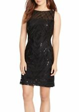 American Living Women's Sequin Illusion Sheath Dress Cocktail Mesh Black Size 4