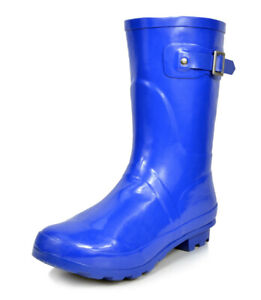 Womens Durable Waterproof Round Toe Classic Mid Calf Pull On Rubber Rainboots