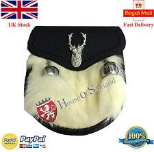 Scottish Child's Kids Kilt Sporran White Rabbit Fur Baby Kilt Sporrans Stag Head