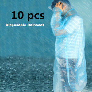 10x Disposable Adult Emergency Waterproof Rain Coat Hiking Camping Hood X74
