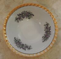 Lusterware Small Bowl with Purple Flowers Pattern from Yamatsu White Orange Rim