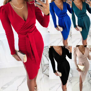 Women's Sexy V Neck Long Sleeve Bodycon Ladies Evening Cocktail Party Midi Dress