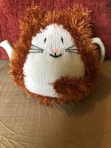 HAND KNITTED FLUFFY GINGER CAT TEA COSY/COZY/COSIES/COZIES