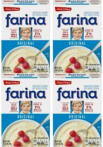 Farina Hot Wheat Cereal Enriched Creamy Original 18 oz 4 Pack EXP 5/07/2022