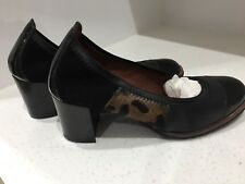 Hispanitas Black and Leopard Print Leather Court Shoes Size 4