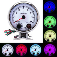 3.75'' Car Tachometer Gauge 7 Colors LED Shift Light 0-8000 RPM Meter White Face