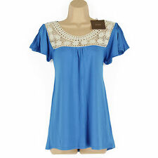 BNWT BLUE & CREAM CHROCHET SPLIT CAP SLEEVE EVENING, SUMMER TUNIC TOP SIZE 10