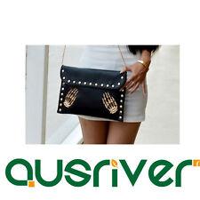 New Fahion Lady Rivet Punk Black Messenger Handbag Purse Tote Clutch Small Bag