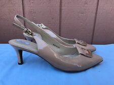 Geox Respira EUR 41 US 9 - 9.5 Beige Patent Leather Pointy Toe Slingback Shoes