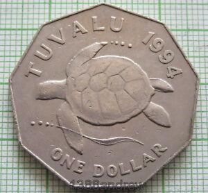 TUVALU ELIZABETH II 1994 DOLLAR, SEA TURTLE, SCARCE