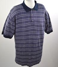 GREG NORMAN Men's Polo Casual T-shirt Sz M Double Mercerized Blue Purplish Plaid
