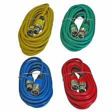 4 PACK LOT 25 FT colored shielded XLR mic microphone audio cords cable 100 foot