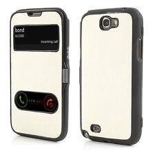 Schutz Tasche TPU Hülle Flip Cover f Samsung Galaxy NOTE 2 N7100 WEIß SCHWARZ P7