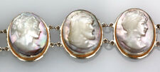 ESTATE MOTHER OF PEARL HAND CARVED CAMEO LINK BRACELET FACES ON SILVER HANDMADE