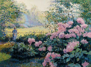 """H Claude Pissarro """"Les Rhododendrons"""" Hand Signed Artwork, Garden flowers L@@K"""