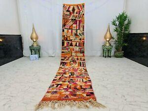"Moroccan Boujaad Handmade Runner 2'3""x11'8"" Berber Abstract Multicolor Wool  Rug"