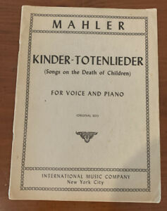 1952 Kinder-Totenlieder (Songs on the Death of Children) Mahler Vintage Piano