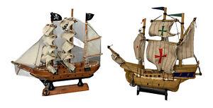 "Vintage Model Wood Pirate Skull & Bones Ship 9""x9"" Nautical Decorative Lot of 2"