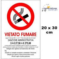 CARTELLO VIETATO FUMARE 20x30 cm SCUOLA UFFICIO CONDOMINIO NO SMOKING LEGGE 2003