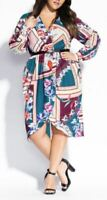 CITY CHIC Dress Plus Size 22 XL Floral Long Sleeve Lined Emerald Cold Shoulder