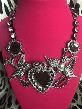 Betsey Johnson HUGE Amethyst Purple Crystal Jewel Tattoo Sparrow Bird Necklace