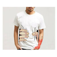 Men's Creative3D Catch You Big Hand Printed Cotton Short Sleeve T-shirt White