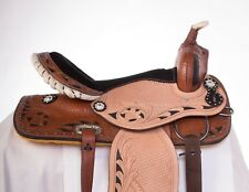 "USED 16"" BLACK INLAY BARREL RACING WESTERN LEATHER HORSE SADDLE PLEASURE TRAIL"