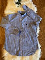 Ralph Lauren Mens Classic Fit Blue Striped L/S Button Down Shirt Size Large
