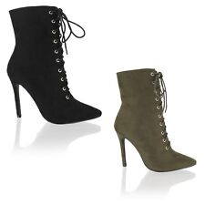 Womens Ladies High Stiletto Heel Lace up Pointed Toe Ankle Boots Booties Shoes