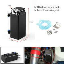 Black Universal Square Aluminum Engine Oil Catch Tank Can Reservoir Breather Kit