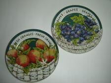 """VINTAGE GIBSON  FRUITS SALAD DESSERT PLATES 7.5"""" GRAPES ORANGES"""