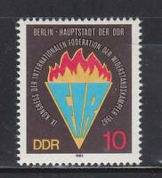 DDR256 - EAST GERMANY DDR 1982 FEDERATION OF RESISTANCE FIGHTERS MNH