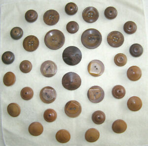 ANTIQUE+VINTAGE LOT OF 35 BUTTONS - VARIOUS WOODEN BUTTONS+BAKELITE- 19th-20th C