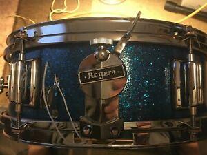 """Rogers Luxor 6 lug 14"""" X 5"""" Vintage Wood Snare-1960s Blue Sparkle-Refurbished"""