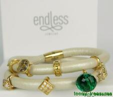 """ENDLESS Jewelry Nude Leather Wrap 8 Charm Bracelet Sterling Silver 7"""""""