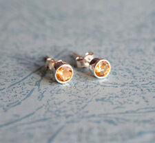 925 Sterling silver stud earrings with natural faceted Citrine gemstones