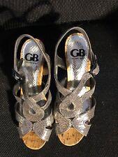 "Sandals, GIANNI BINNI, silver/grey strappy, 4"" wedge, SZ: 7 1/2M"