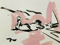 """JOSE TRUJILLO - Black Pink ACRYLIC on Paper PAINTING 9x12"""" ABSTRACT FIGURE CHILD"""